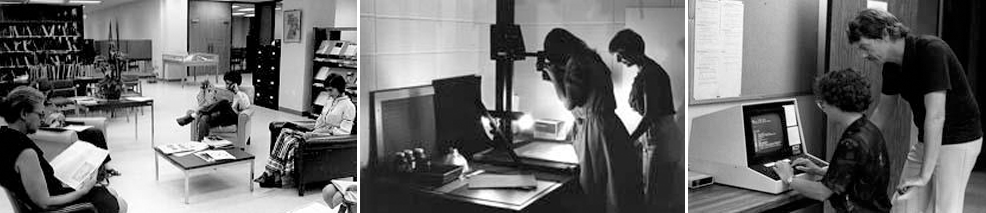 Historical images of students and faculty reading, imaging documents, and using an early computer terminal at the Graduate School of Library and Information Science