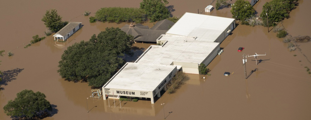 A museum is surrounded by floodwaters.