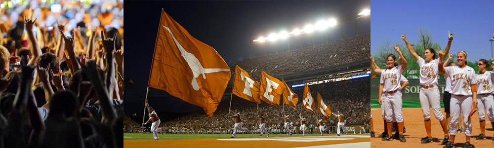 Composite image of UT sporting events showing longhorn flag runners, softball players, and a crowd of UT sports fans