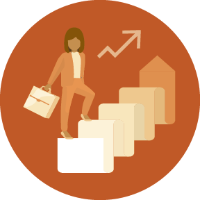 Illustration of a professional woman holding a briefcase climbing a staircase