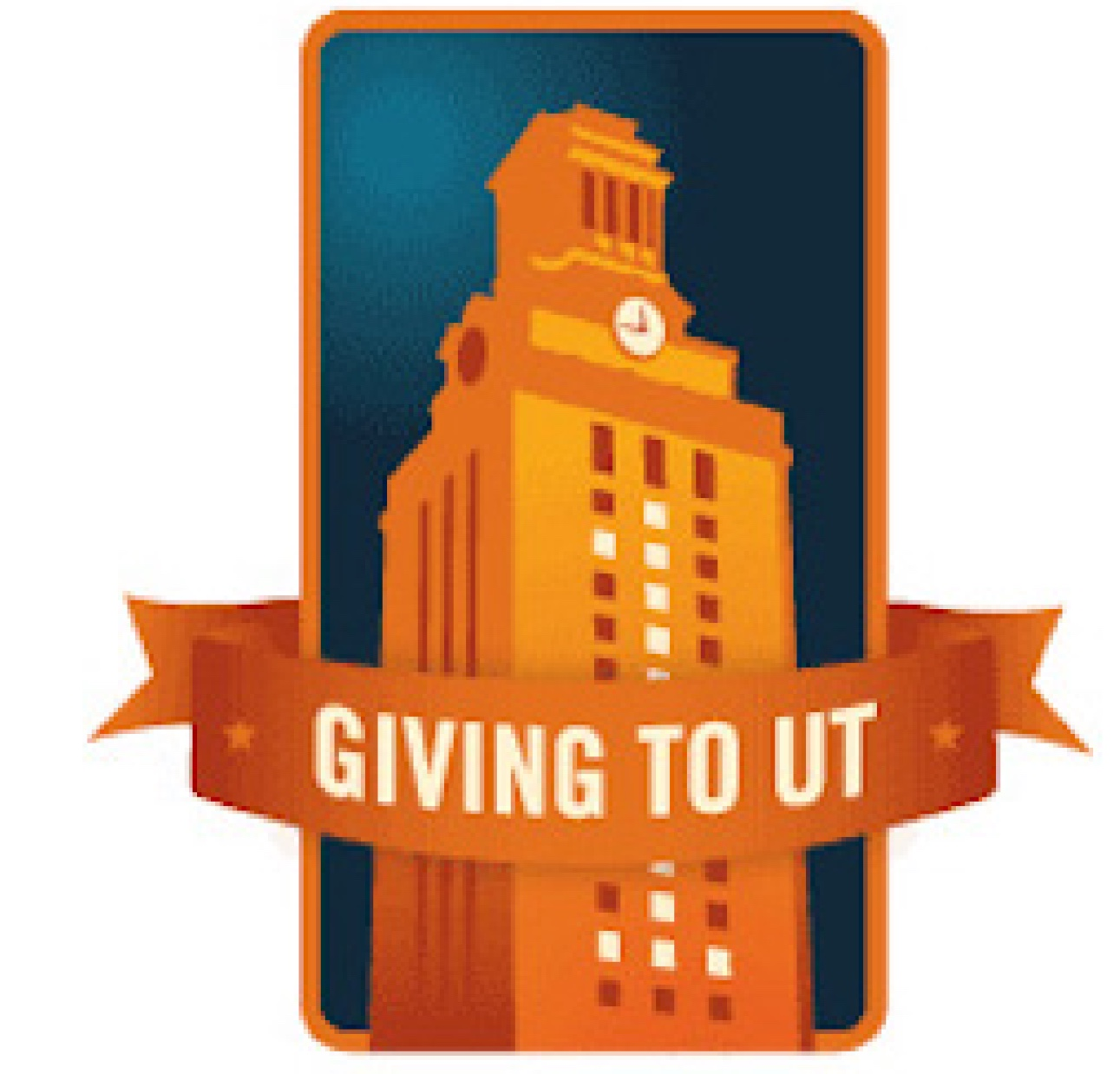 "Illustrated logo of the UT tower in orange on a dark blue background, crossed by a banner reading ""Giving to UT"""
