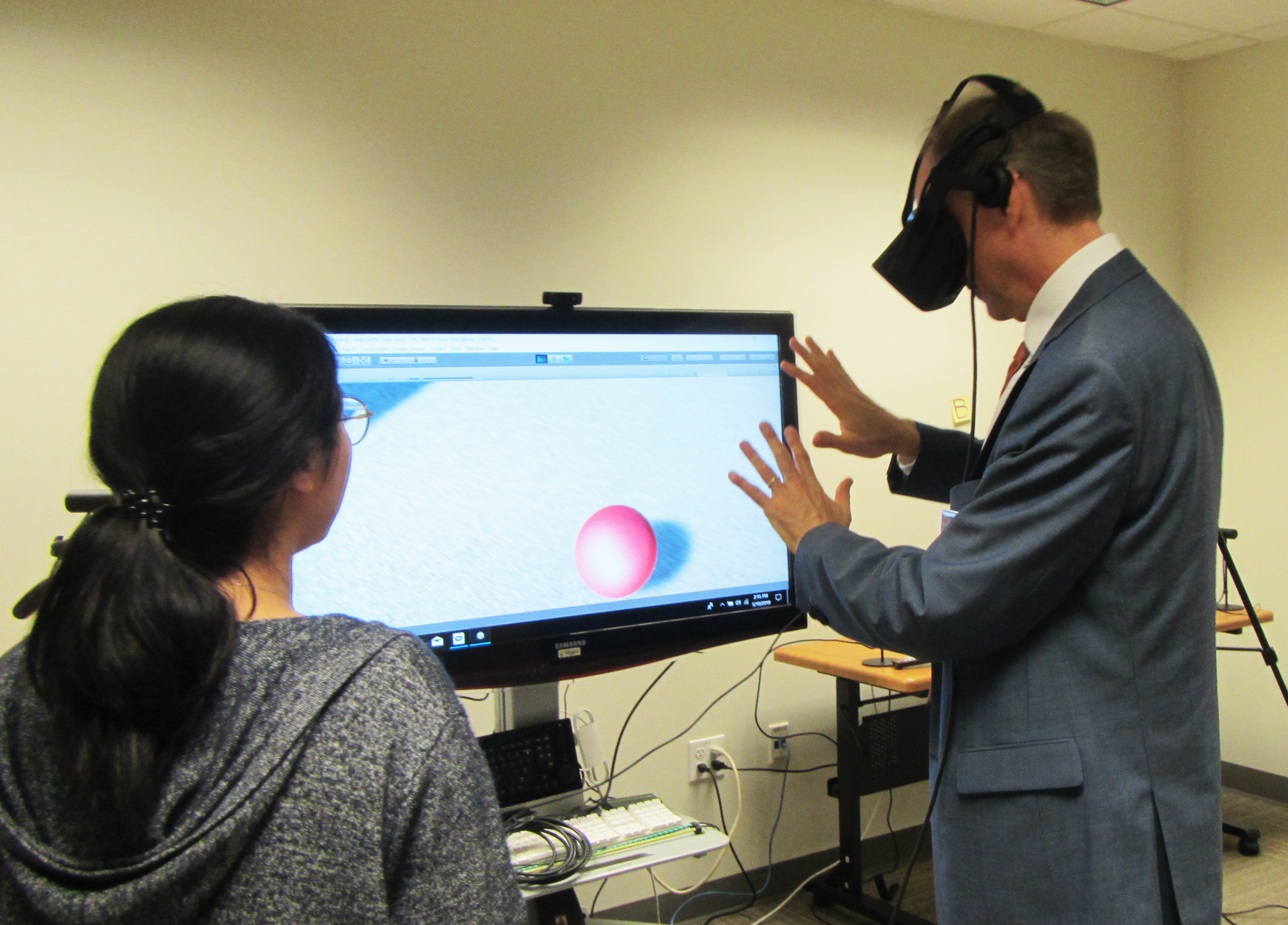 Dean Meyer Experiments with VR during Open House Capstone Showcase