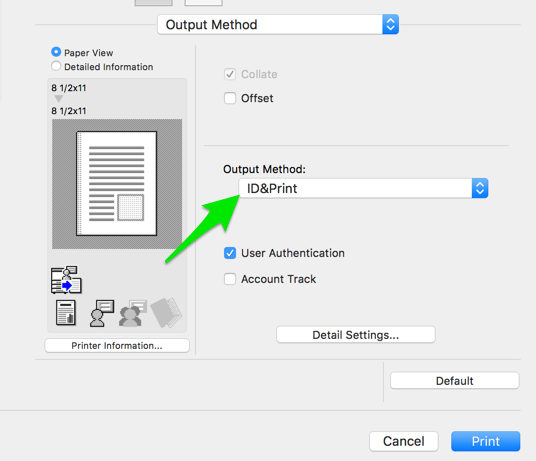 Select ID&Print in the drop down menu