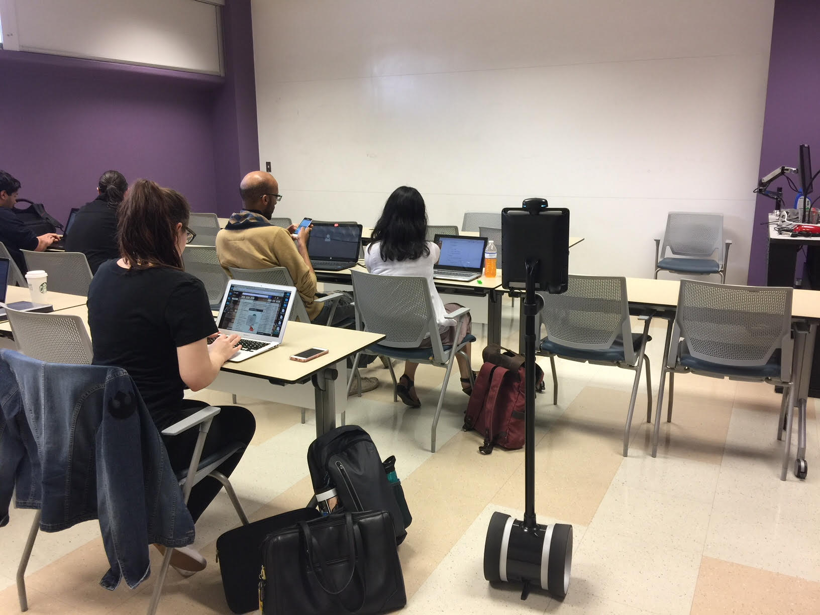 Picture of Double Telepresence Robot in iSchool Classroom