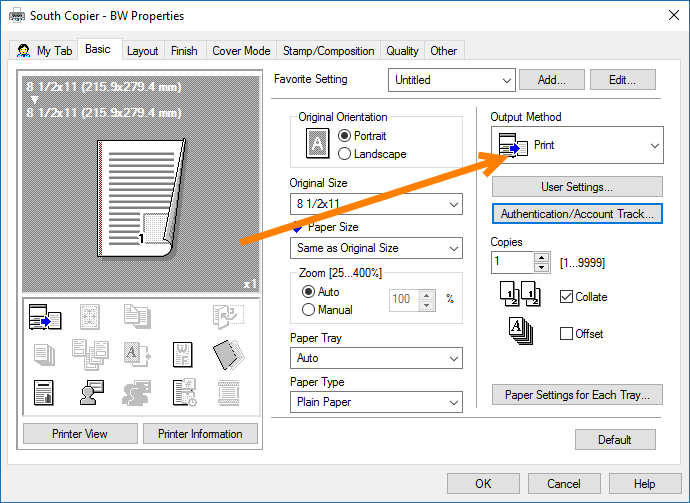 Open the Output Method Dropdown
