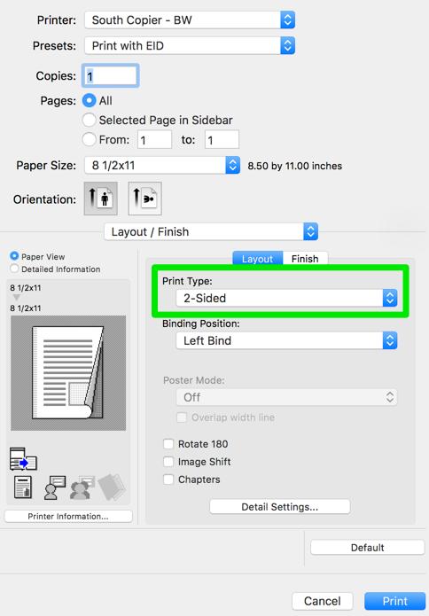 Image of Print Type drop down