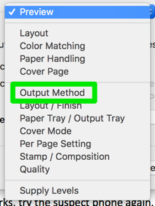 Select Output Method in the dropdown