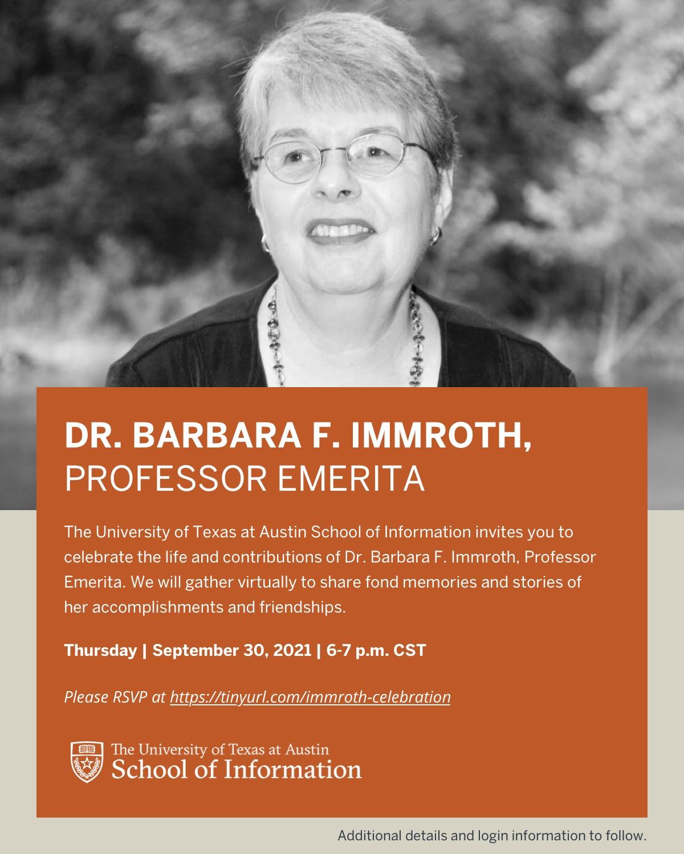 Dr. Barbara F. Immroth, Professor Emerita