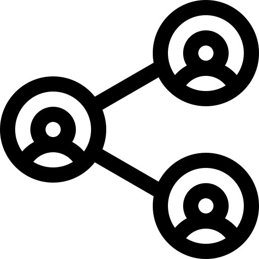 Black and white icon showing three smaller user icons connected by lines