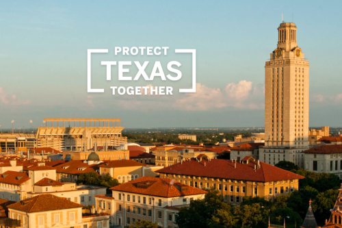 Protect Texas Together graphic in white over aerial photograph of UT campus at sunset