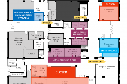 Map of U T A Building first floor, showing special instructions and precautions for use during COVID-19