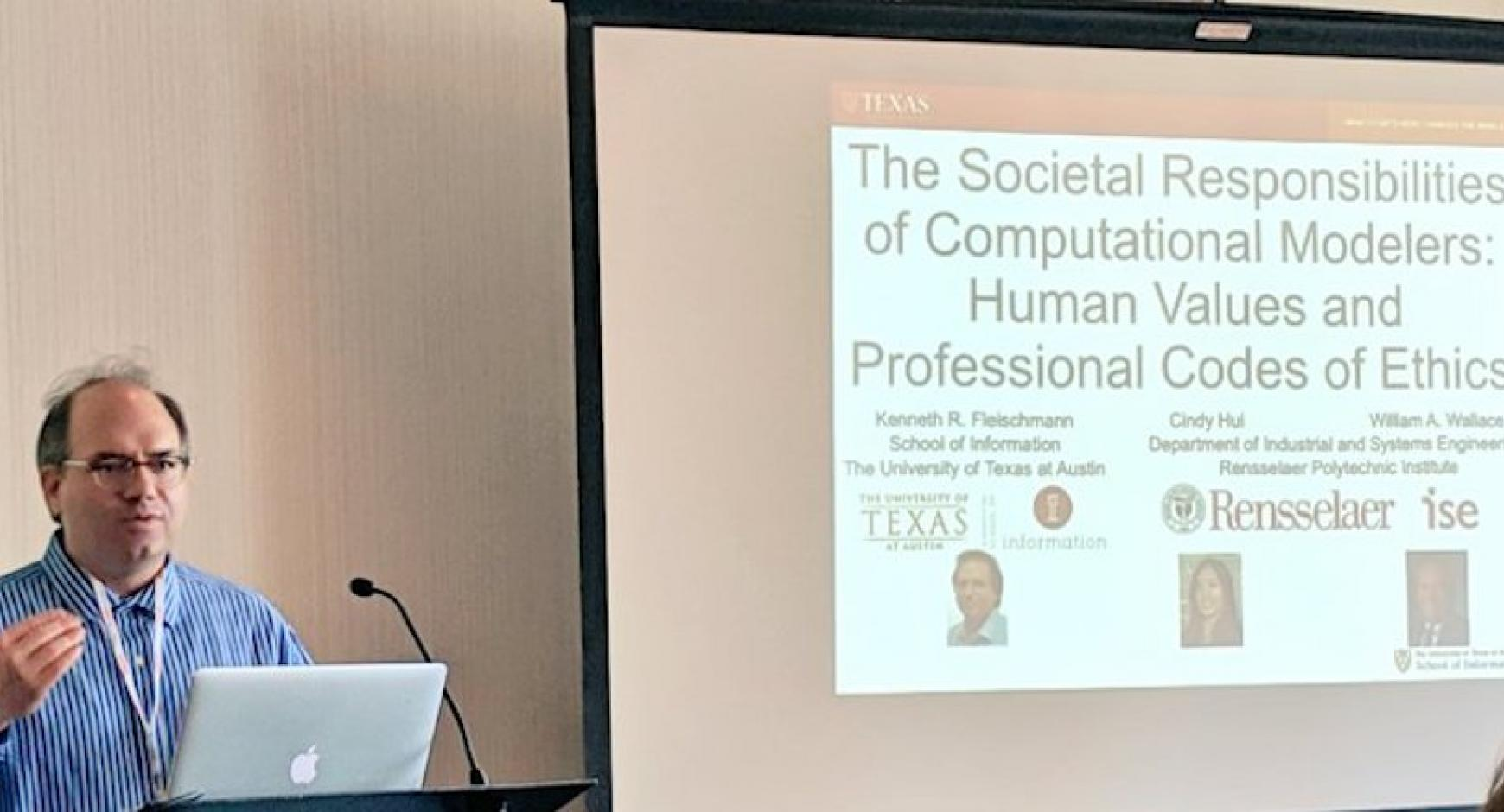 """Professor Fleischmann presenting at the ASIS&T conference"""