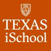 University of Texas iSchool logo with crest on an orange background