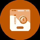 Circular orange icon with a pencil and clock on a desktop