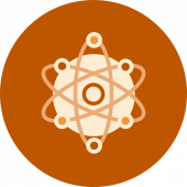 Circular icon of an atom with nucleus and electron orbits on an orange background