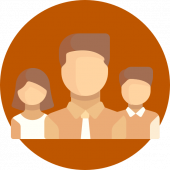 Circular icon showing the head and shoulders of three illustrated people on an orange background