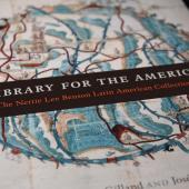 "Book cover of ""A Library for the Americas"" about the Benson Library collection"