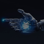 Human-like robotic hand with glowing palm and fingertip