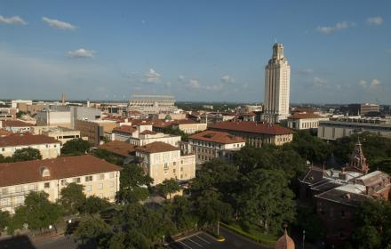 UT campus and tower seen from the roof of the CMB building