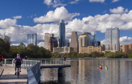 The Austin, Texas downtown skyline over the Colorado River and Lady Bird Lake