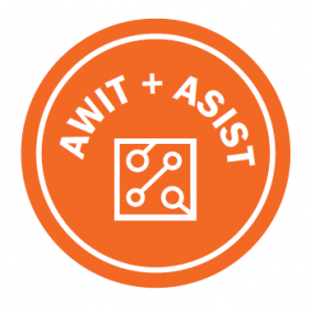 Logo for the UT Austin Advocating for Women in Technology, and Association for Information Science and Technology groups