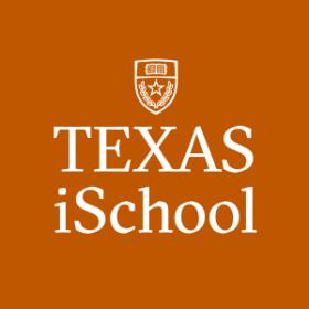University of Texas iSchool logo with crest on an orange background