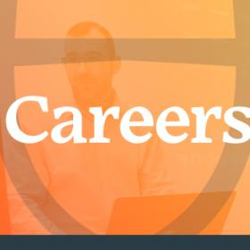 Careers in white text on orange background