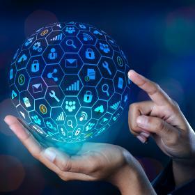 An information ball above hands