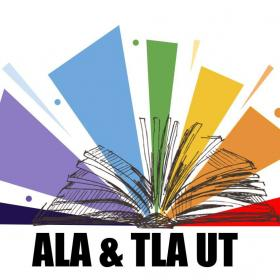 Rainbow book logo for the University of Texas Chapter of the American Library Association and Texas Library Association