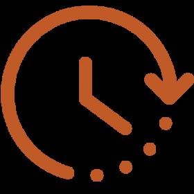 Icon of clock with arrow border