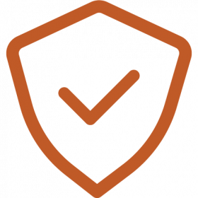 Icon of security shield with check