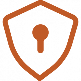 Icon of security badge with keyhole