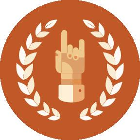 Illustration of a hook-em horns hand sign surrounded by a laurel wreath