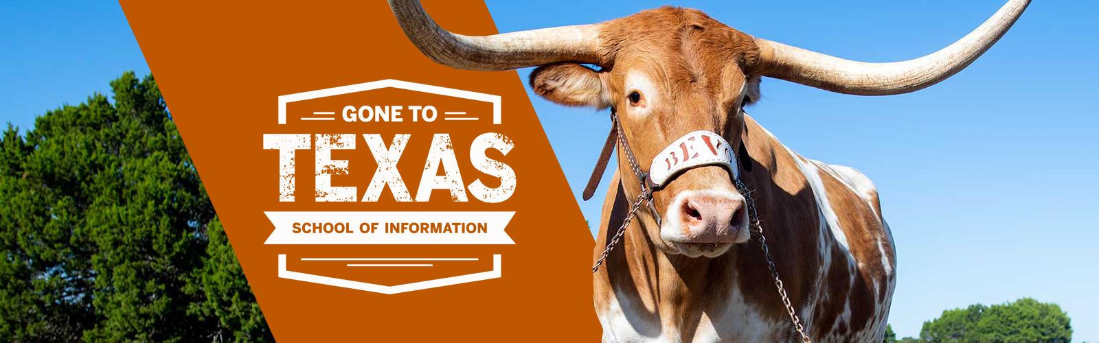 "Gone to Texas logo with UT longhorn mascot ""Bevo"""